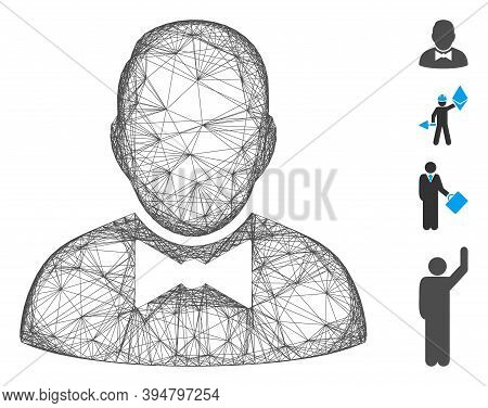 Vector Wire Frame Waiter. Geometric Hatched Frame Flat Network Based On Waiter Icon, Designed From C