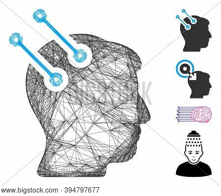 Vector Network Neural Interface Connectors. Geometric Wire Carcass 2d Network Made From Neural Inter
