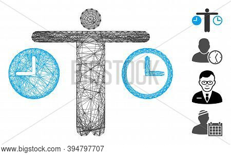 Vector Net Compare Time. Geometric Hatched Carcass Flat Net Made From Compare Time Icon, Designed Fr