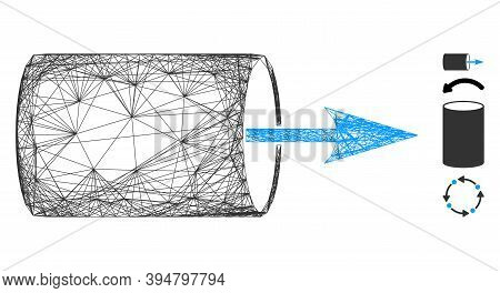 Vector Wire Frame Pipe Direction. Geometric Wire Frame 2d Network Made From Pipe Direction Icon, Des