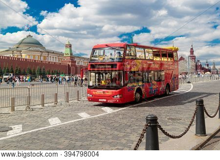 Moscow, Russia - August 21, 2020: Red Double-decker Sightseeing Bus