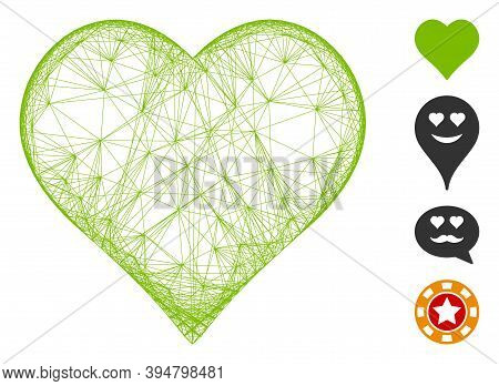 Vector Wire Frame Favourites. Geometric Wire Carcass Flat Net Made From Favourites Icon, Designed Fr