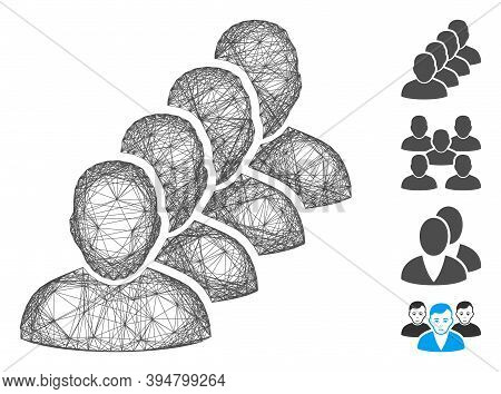 Vector Network People Queue. Geometric Hatched Frame Flat Network Made From People Queue Icon, Desig