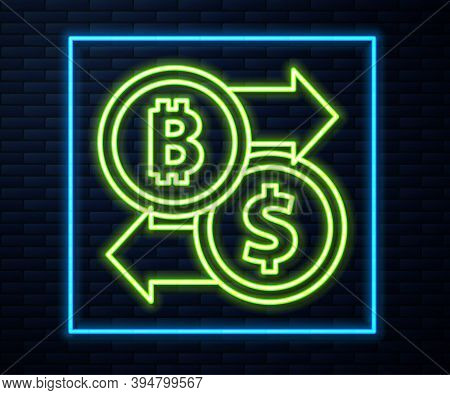 Glowing Neon Line Cryptocurrency Exchange Icon Isolated On Brick Wall Background. Bitcoin To Dollar