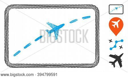 Vector Wire Frame Plane Route. Geometric Wire Frame 2d Net Based On Plane Route Icon, Designed From