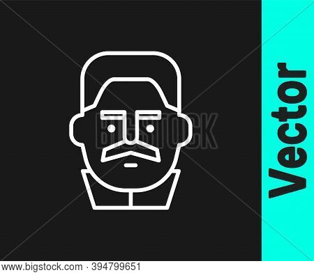 White Line Portrait Of Joseph Stalin Icon Isolated On Black Background. Vector