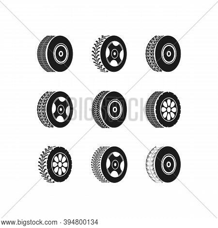 Tire Change Car Service. Motocross, Bike Path, Car Track Or Auto Racing. Car Tires And Tracks On A W