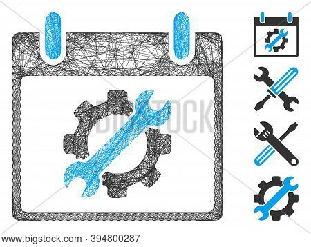 Vector Wire Frame Configuration Tools Calendar Day. Geometric Linear Frame 2d Net Generated With Con