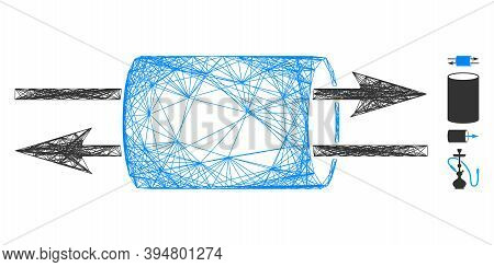 Vector Network Vpn Pipe. Geometric Wire Frame Flat Network Generated With Vpn Pipe Icon, Designed Wi