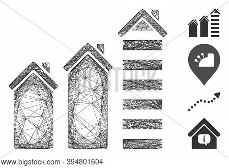 Vector Wire Frame Realty Trend. Geometric Wire Frame Flat Net Made From Realty Trend Icon, Designed