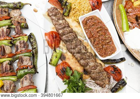 Kebab Varieties Specific To Turkish Cuisine, Kebab Of Adana,shish Kebab And Doner Kebab