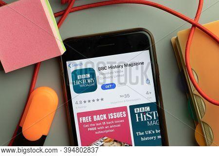 New York, United States - 7 November 2020: Bbc History Magazine App Store Logo On Phone Screen, Illu