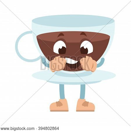 Cartoon Cup. Funny Mascot, Glass Coffee Mug And Plate With Anthropomorphic Face, Hands And Legs. Caf