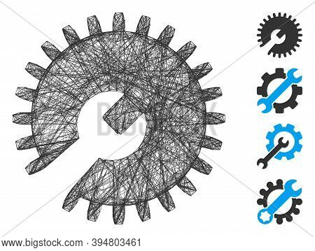Vector Wire Frame Gear Tools. Geometric Wire Frame 2d Net Made From Gear Tools Icon, Designed From C