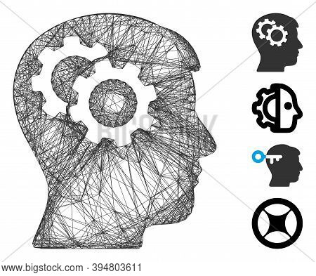 Vector Wire Frame Intellect Gears. Geometric Wire Frame 2d Net Made From Intellect Gears Icon, Desig