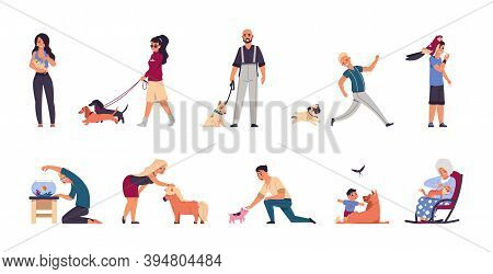 Pet Owners. Cartoon Happy Man, Woman And Children Playing Or Walking, Spending Time With Domestic An