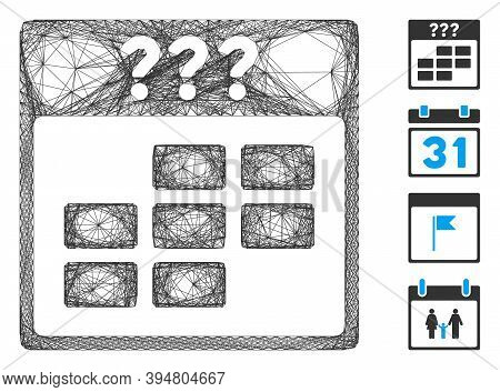 Vector Network Unknown Month Calendar Grid. Geometric Hatched Carcass Flat Network Generated With Un