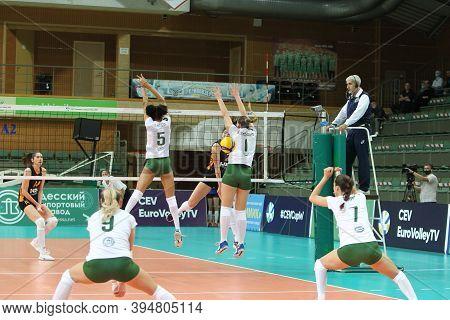 Odessa, Ukraine-09/30/2020 Women Emotional Volleyball. 1/8 Cev Volleyball Cup 2021 Chimik Yuzhny -wh
