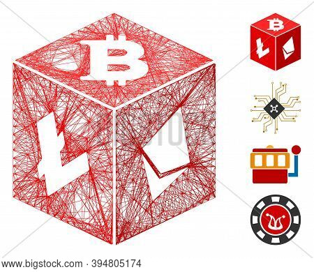 Vector Wire Frame Cryptocurrency Dice. Geometric Wire Frame Flat Net Based On Cryptocurrency Dice Ic