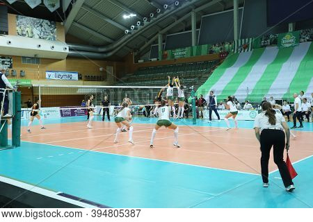 Odessa, Ukraine-09/30/2020 Women Emotional Volleyball. 1/8 Cev Volleyball Cup 2021 Chimik Yuzhny -wh
