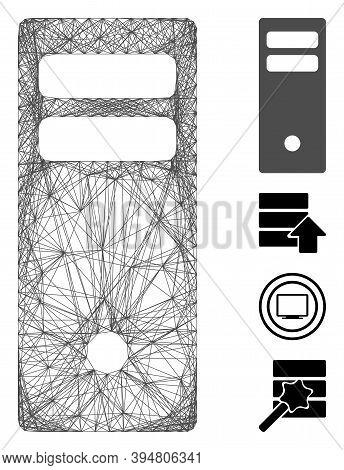 Vector Wire Frame Server Mainframe. Geometric Wire Frame 2d Network Made From Server Mainframe Icon,