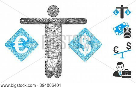 Vector Wire Frame Person Compare Dollar And Euro. Geometric Wire Frame Flat Network Based On Person