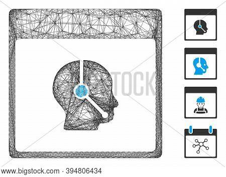Vector Net Telemarketing Operator Calendar Page. Geometric Hatched Carcass 2d Net Made From Telemark