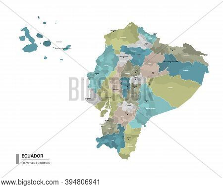 Ecuador Higt Detailed Map With Subdivisions. Administrative Map Of Ecuador With Districts And Cities