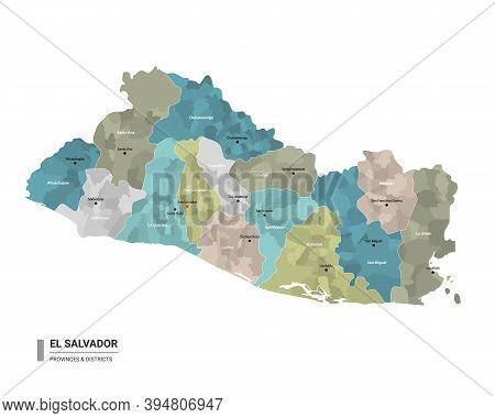El Salvador Higt Detailed Map With Subdivisions. Administrative Map Of El Salvador With Districts An