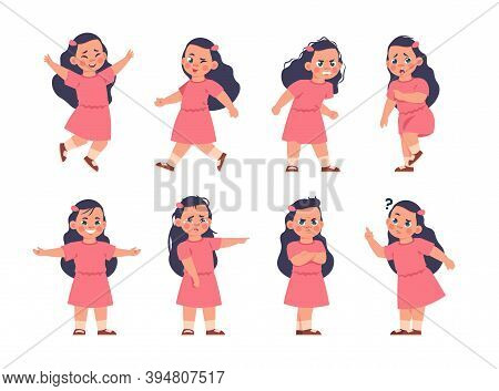 Girl Expressions. Cartoon Kid Character With Different Types Of Emotions, Smile Or Sad, Crying And H