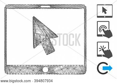 Vector Wire Frame Tablet Arrow Pointer. Geometric Wire Frame 2d Network Based On Tablet Arrow Pointe