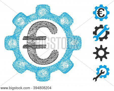 Vector Network Euro Options. Geometric Linear Frame 2d Network Generated With Euro Options Icon, Des