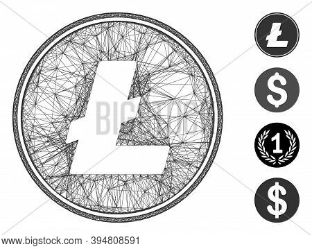 Vector Network Litecoin Coin. Geometric Hatched Frame Flat Network Made From Litecoin Coin Icon, Des