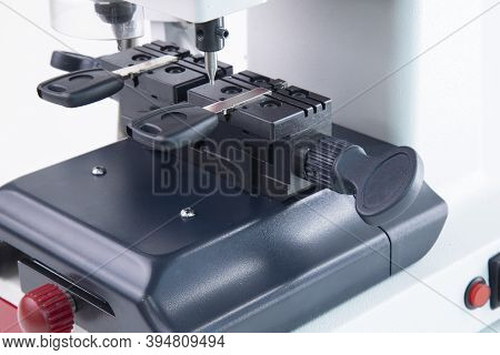 Production Of Car Keys On A Specialized Key Machine.