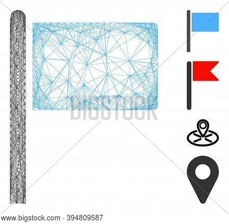 Vector Net Flag Pointer. Geometric Linear Carcass Flat Net Made From Flag Pointer Icon, Designed Fro