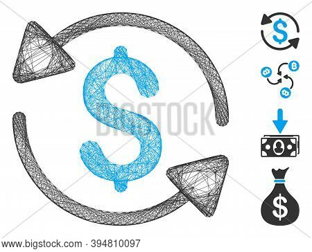 Vector Net Money Turnover. Geometric Wire Frame Flat Net Made From Money Turnover Icon, Designed Fro