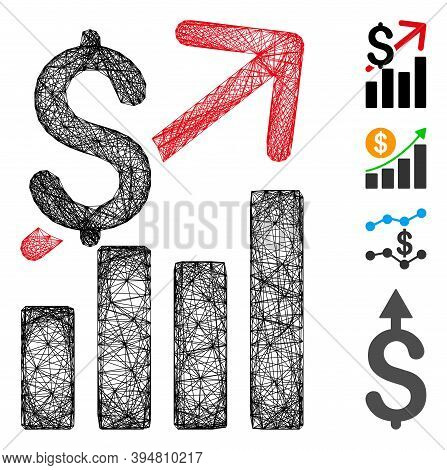 Vector Net Sales Growth. Geometric Wire Carcass 2d Net Made From Sales Growth Icon, Designed From In