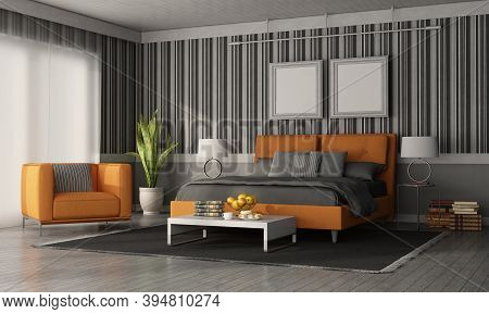 Gray And Orange Modern Bedroom With Double Bed , Armchair And Wall With Wallpaper - 3d Rendering
