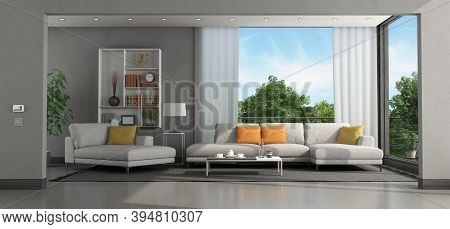 Living Room Of A Modern Villa With Sofa And Chaise Lounge - 3d Rendering