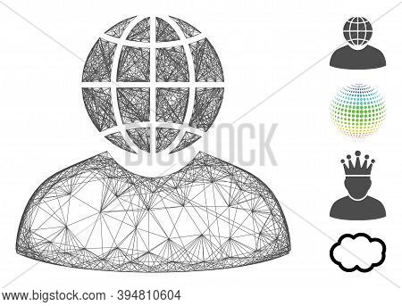 Vector Wire Frame Global Politician. Geometric Hatched Frame Flat Net Generated With Global Politici