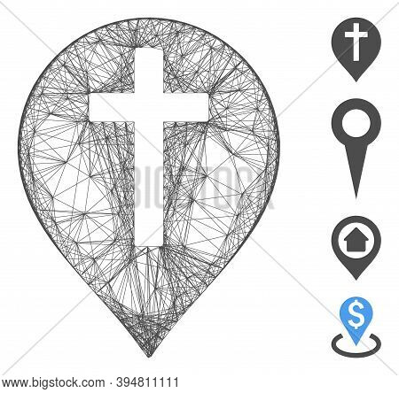 Vector Wire Frame Christian Cross Marker. Geometric Linear Frame Flat Net Generated With Christian C