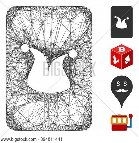 Vector Net Joker Gambling Card. Geometric Wire Frame 2d Net Generated With Joker Gambling Card Icon,
