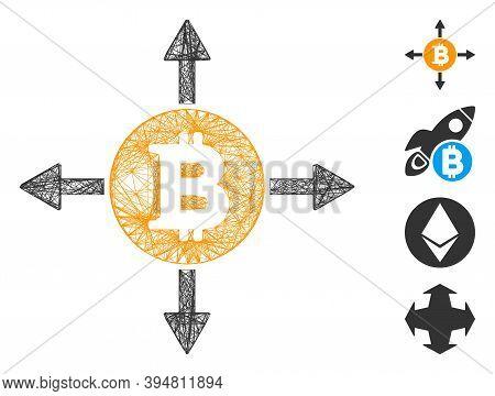 Vector Net Bitcoin Directions. Geometric Linear Carcass 2d Net Made From Bitcoin Directions Icon, De