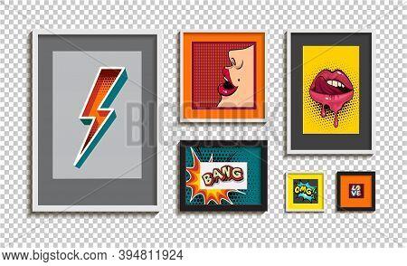 Set Of Art Picture Frames. Modern Vector Glass Frames Mockup. Picture Frames Template Isolated On Ba