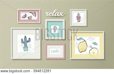 Cute Relax Vector Frames Mockup Template. Wall Posters. Plants, Cactus, Lemon, Watermelon Illustrati