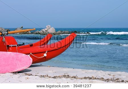 A red lifeboat