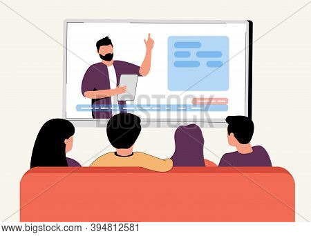 Illustration Of Family Or Roommates Watching The News At Home In Flat Style Vector. A Girl And Two M