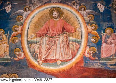 Padua, Italy - August 17 2020: Jesus Christ At The Last Judgement In Capella Degli Scrovegni Chapel