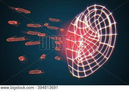 Bacterial ear diseases. Bacteria and the human ear as a concept of ear ailments. 3d illustration