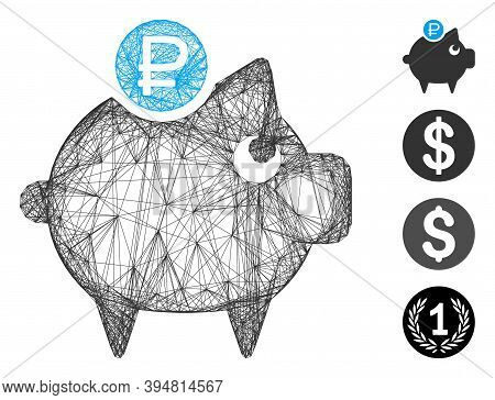 Vector Net Rouble Piggy Bank. Geometric Linear Frame 2d Net Made From Rouble Piggy Bank Icon, Design